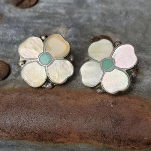 Zuni inlay sterling earrings